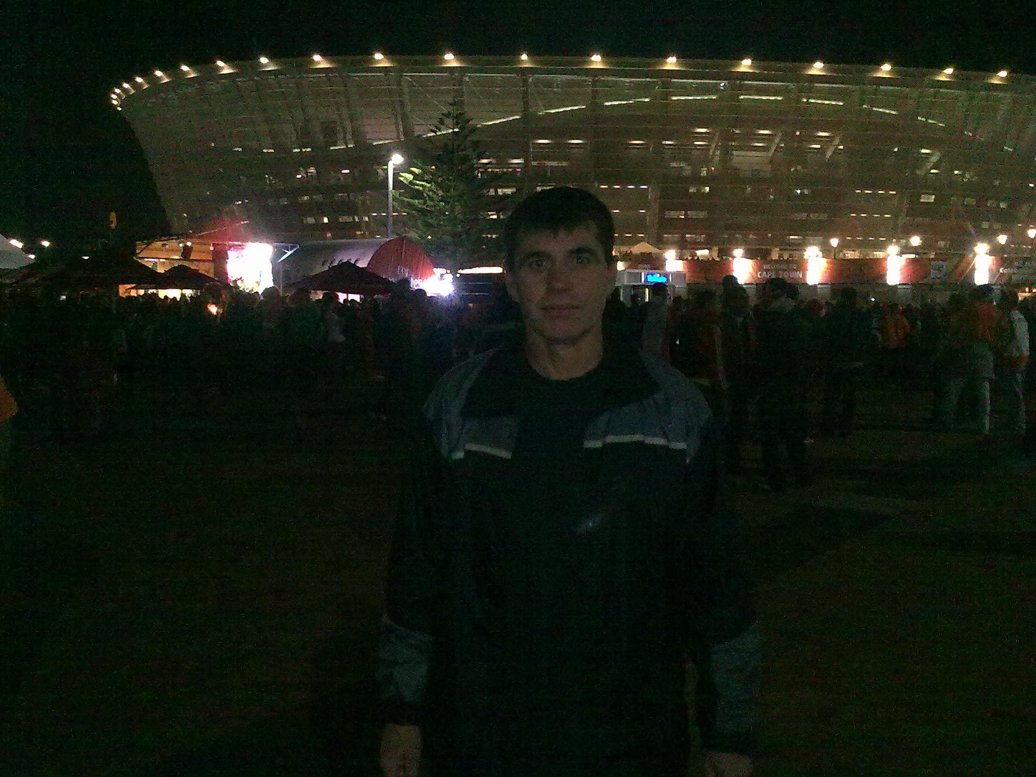 celso at a night game at the stadium