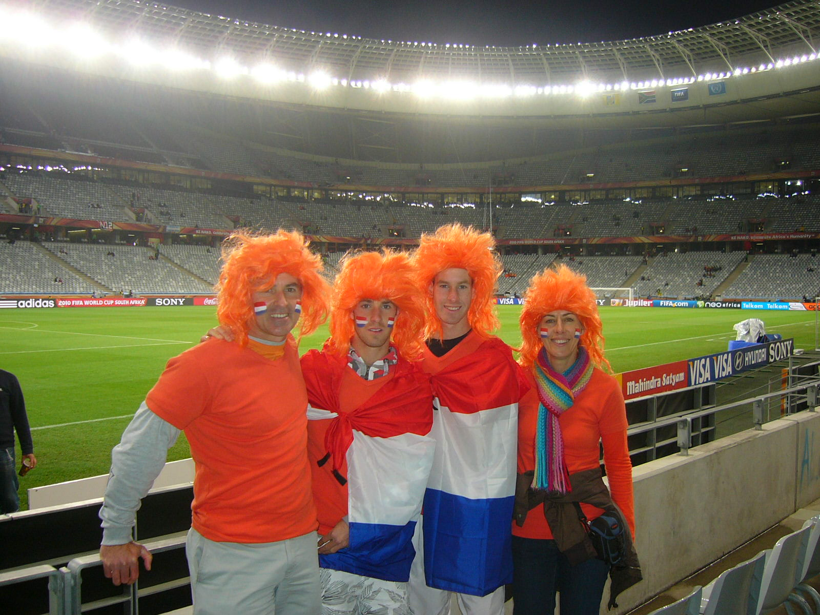 the hackart family in stadium at semi final holland vs uruguay in cape town